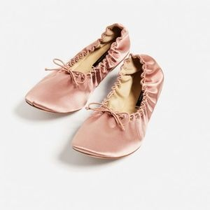 Zara Satin Ballet Flats Shoes New Pink 41 US 10